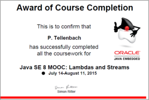 Award for completing MOOC about lambdas and streams