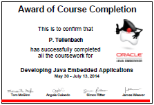 Award for MOOC about developing java embedded applications